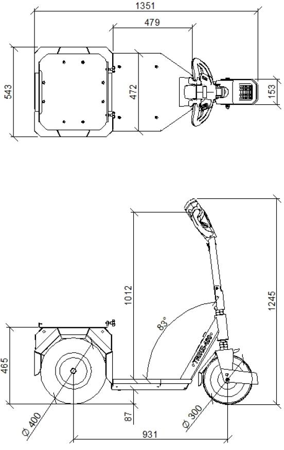 Afmetingen Horti-Trike XL 3000w
